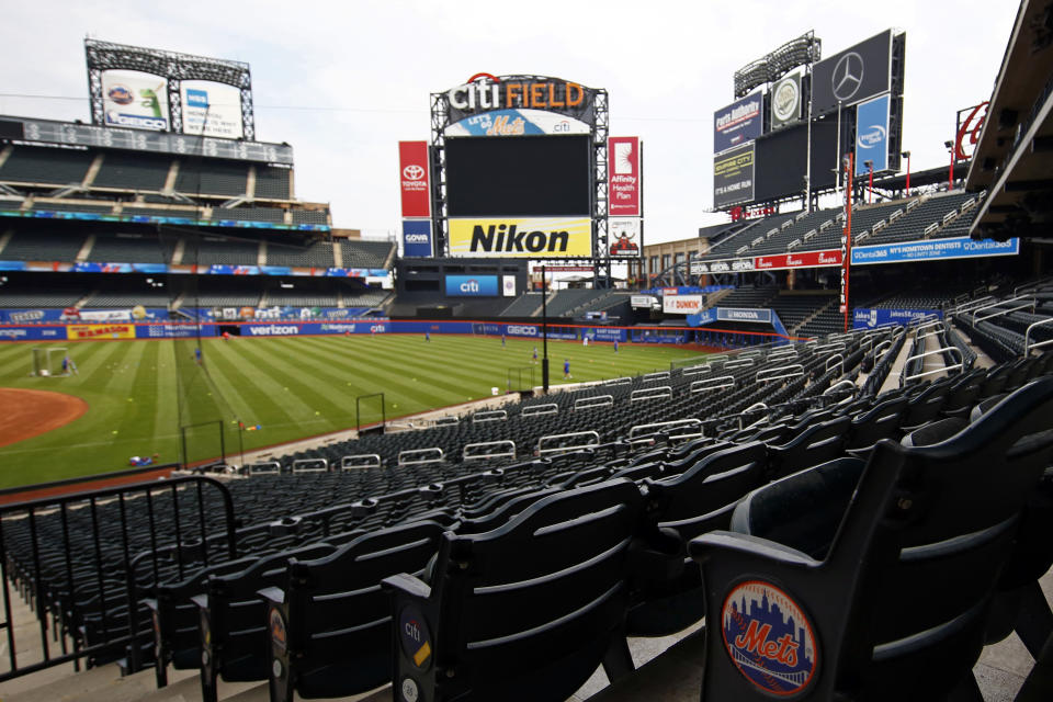 A general view of the New York Mets taking batting practice during a baseball workout at Citi Field in New York, Friday, July 3, 2020. (AP Photo/Adam Hunger)