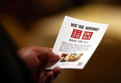 A job seeker holds a flier before meeting with a recruiter during a HIREvent job fair in San Francisco, California in July 2012. With the employment situation stagnant this year -- the jobless rate is stuck at a high 8.3 percent -- the new data for August could say a lot about the strength of the economy, as it weathers a global downturn and a domestic stalemate on economic policy