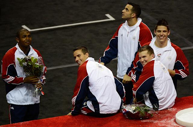 SAN JOSE, CA - JULY 01: The US Gymnastics men's team of (from left) John Orozco, Jacob Dalton, Danell Leyva, Jonathan Horton and Chris Brooks after they were announced as the team going to the 2012 London Olympics at HP Pavilion on July 1, 2012 in San Jose, California. (Photo by Ronald Martinez/Getty Images)