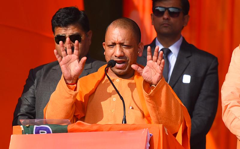 NEW DELHI, INDIA FEBRUARY 1: Uttar Pradesh Chief Minister Yogi Adityanath addresses a rally in support of BJP candidate from Narela Neeldaman Khatri ahead of the Delhi assembly election, on February 1, 2020 in New Delhi, India. Shaheen Bagh continues to be at the centre of campaigning for Delhi elections by political parties with Uttar Pradesh Chief Minister Yogi Aditynath claiming on Saturday that the protestors at the site were being fed with Biryani provided by the Kejriwal government of Delhi. The UP CM is addressing poll meetings in Karawal Nagar, Adarsh Nagar, Narela, Rohini and Badli on Saturday and is considered a huge draw for the Poorvanchali voters in the capital, who number around 30 Lakh. (Photo by Raj K Raj/Hindustan Times via Getty Images)