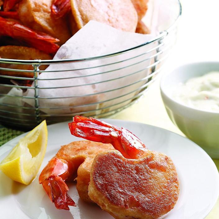 """<p>Who doesn't love a crunchy fried shrimp? This version takes virtually fat-free shrimp out of the deep fryer and pan-fries them in a little bit of oil instead. With 9 grams of total fat and 213 calories per serving, you can feel good about enjoying them.</p> <p> <a href=""""http://www.eatingwell.com/recipe/252142/new-england-fried-shrimp/"""" rel=""""nofollow noopener"""" target=""""_blank"""" data-ylk=""""slk:View recipe"""" class=""""link rapid-noclick-resp""""> View recipe </a></p>"""