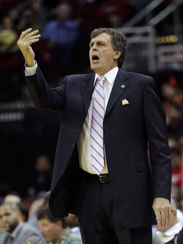 Houston Rockets coach Kevin McHale yells to his team during the second quarter of an NBA basketball game against the Los Angeles Lakers Thursday, Nov. 7, 2013, in Houston. (AP Photo/David J. Phillip)