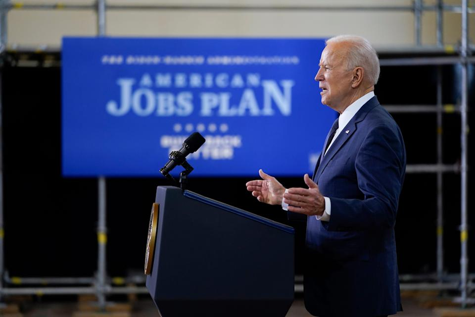 President Joe Biden delivers a speech on infrastructure spending at Carpenters Pittsburgh Training Center, Wednesday, March 31, 2021, in Pittsburgh. (AP Photo/Evan Vucci) ORG XMIT: PAEV422