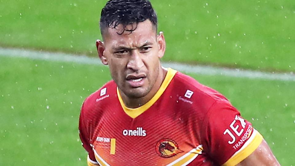 Israel Folau, pictured here playing for the Catalans Dragons in the UK Super League.