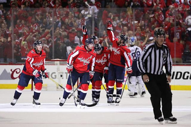 The Washington Capitals pushed their Eastern Conference Finals series to the limit blanking the Tampa Bay Lightning 3-0 and tying the series 3-3 (AFP Photo/Patrick Smith)