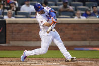 New York Mets' Pete Alonso hits a two-run single during the third inning of the team's baseball game against the Chicago Cubs on Tuesday, June 15, 2021, in New York. (AP Photo/Frank Franklin II)