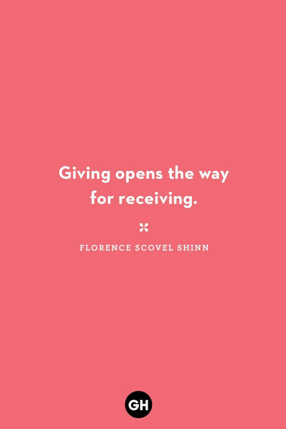 <p>Giving opens the way for receiving.</p>