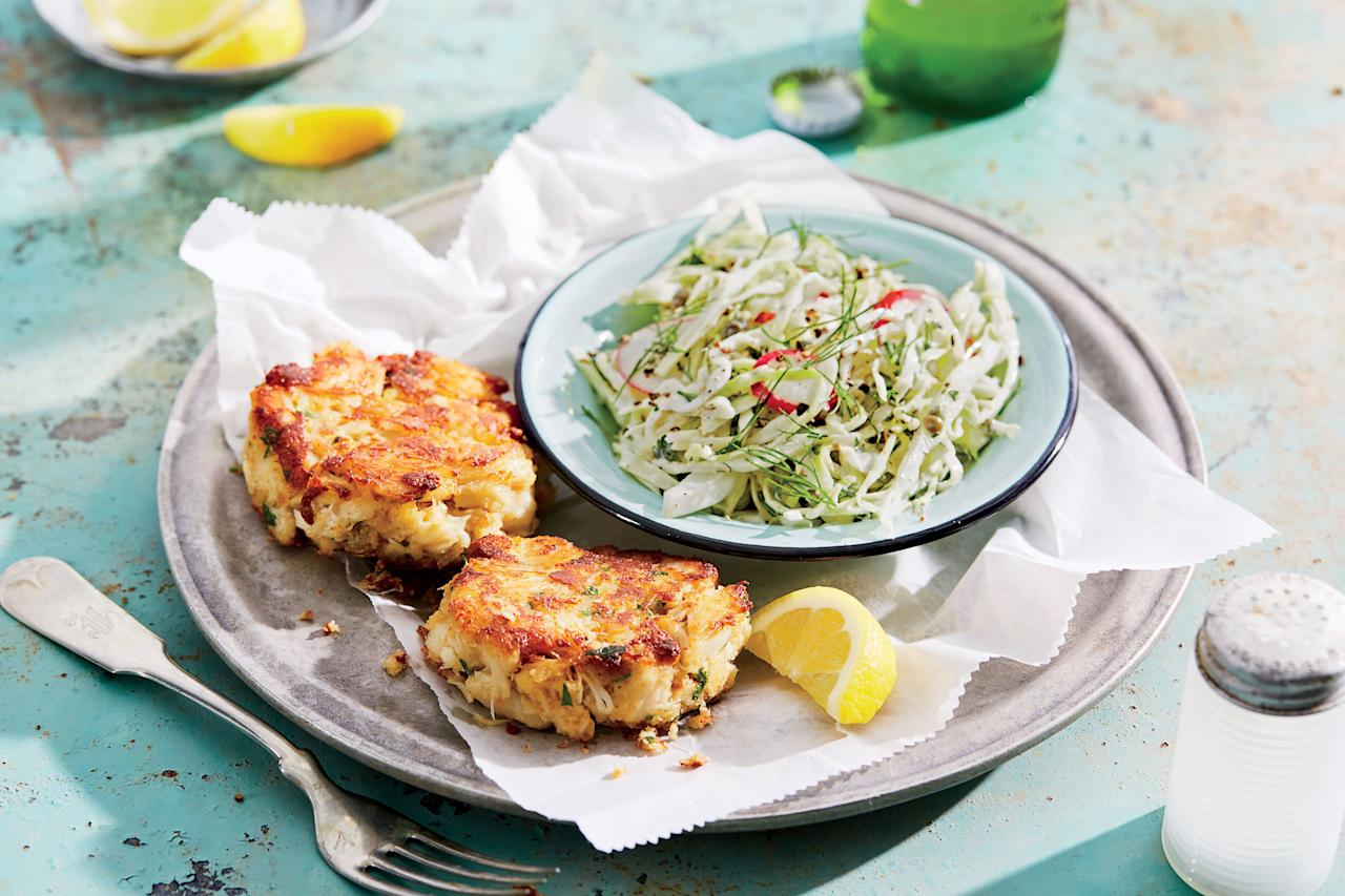 """<p><strong>Recipe: <a href=""""http://www.southernliving.com/recipes/crab-cakes-fennel-radish-slaw-recipe"""" target=""""_blank"""">Crab Cakes with Creamy Fennel-and-Radish Slaw</a></strong></p> <p> Springing for the jumbo lump crabmeat makes these crab cakes stick together well and makes sure you'll get plenty of flavorful crab with every bite. </p>"""