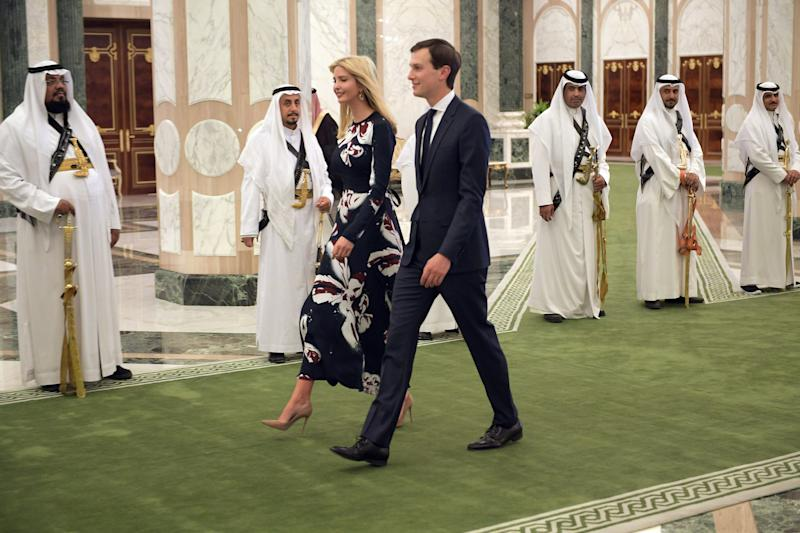 Ivanka Trump (C-L) and Jared Kushner (C-R) arrive to attend the presentation of the Order of Abdulaziz al-Saud medal at the Saudi Royal Court in Riyadh.