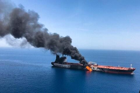 The US has blamed Iran for attacks on oil tankers in the Gulf of Oman on June 13 and May 12 - Credit: Iranian Students' News Agency, ISNA