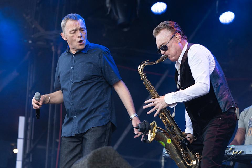 PERTH, SCOTLAND - JULY 22:  Duncan Campbell and Brian Travers of UB40 perform live on stage during Rewind Scotland 2018 at Scone Palace on July 22, 2018 in Perth, Scotland.  (Photo by Lorne Thomson/Redferns)