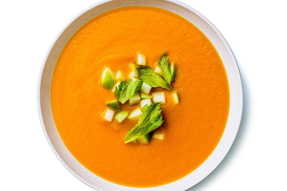 """Not sure what to do with celeriac? This soup pairs the earthy celery root with carrots, tangy yogurt, and warming ginger. <a href=""""https://www.epicurious.com/recipes/food/views/celery-root-and-carrot-soup?mbid=synd_yahoo_rss"""" rel=""""nofollow noopener"""" target=""""_blank"""" data-ylk=""""slk:See recipe."""" class=""""link rapid-noclick-resp"""">See recipe.</a>"""