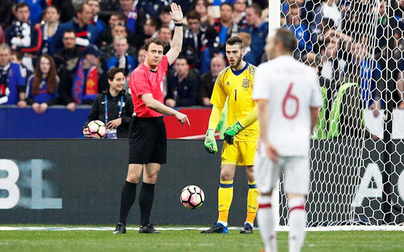 Referee Felix Zwayer disallowed a goal for offside through the use of a video assistant referee in an international friendly between Spain and France in Paris last month - EPA