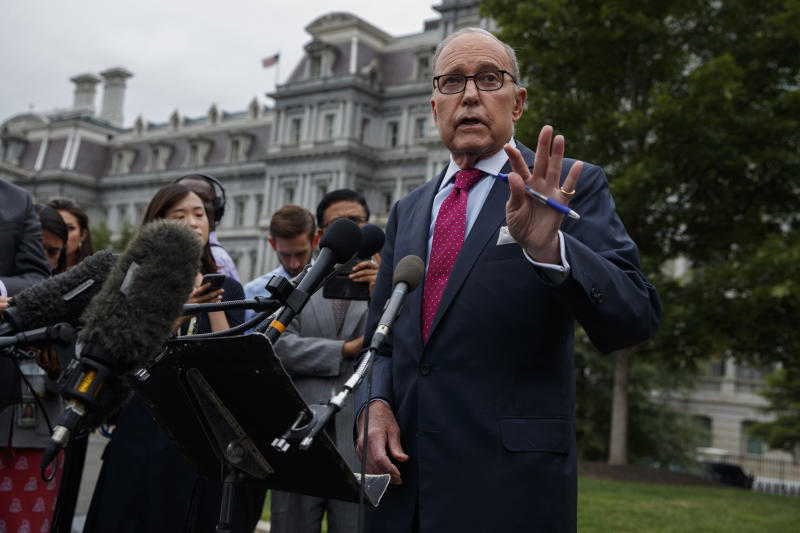 White House chief economic adviser Larry Kudlow talks with reporters outside the White House, Friday, Sept. 6, 2019, in Washington. (AP Photo/Evan Vucci)