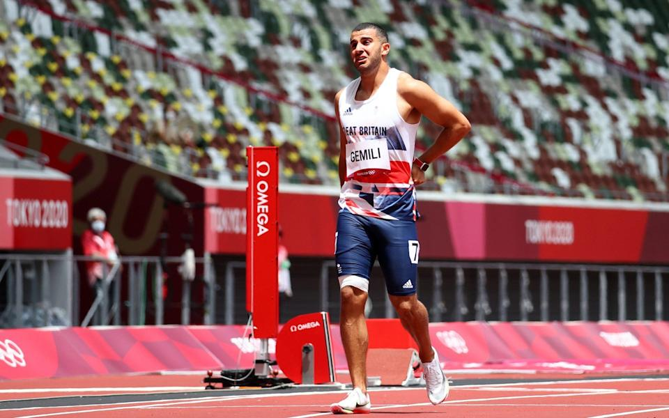 Adam Gemili was only able to walk his 200m after pulling up with injury - LUCY NICHOLSON