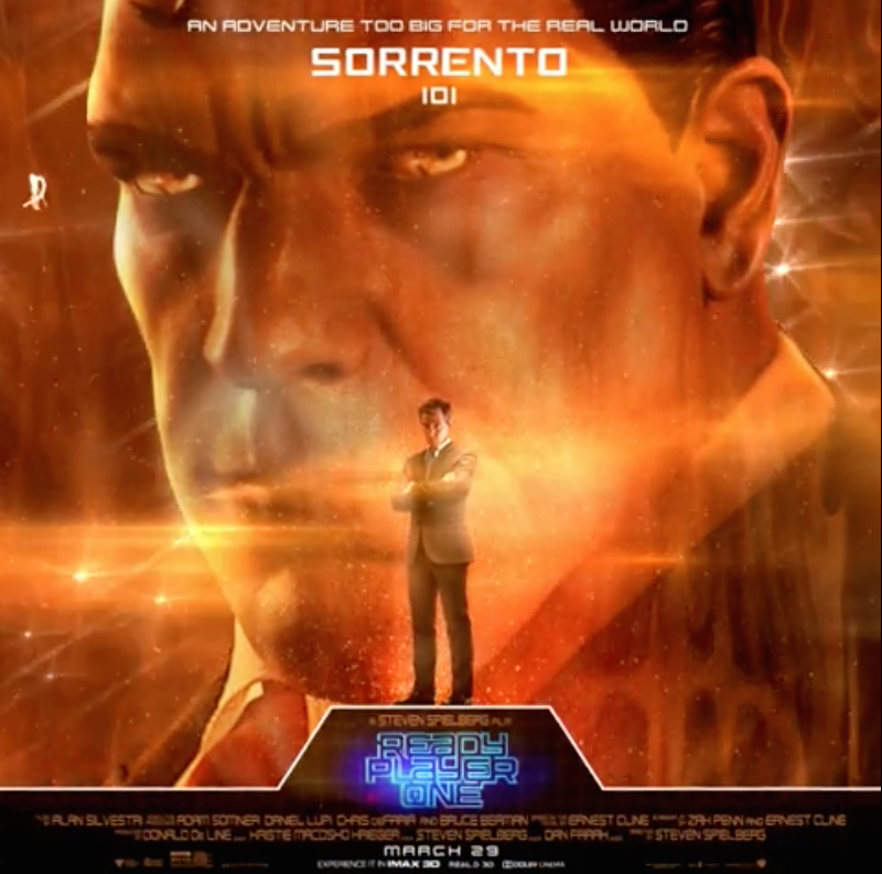 <p>Sorrento doesn't have a specific online Avatar, he works for the IOI (Innovative Online Industries), a corporation who wants to monetise the game. He's the film's primary antagonist. </p>