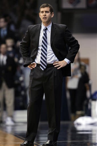 Butler coach Brad Stevens watches as his team plays Evansville in the first half of an NCAA college basketball game, Saturday, Dec. 22, 2012, in Indianapolis. Butler won 75-67. (AP Photo/AJ Mast)