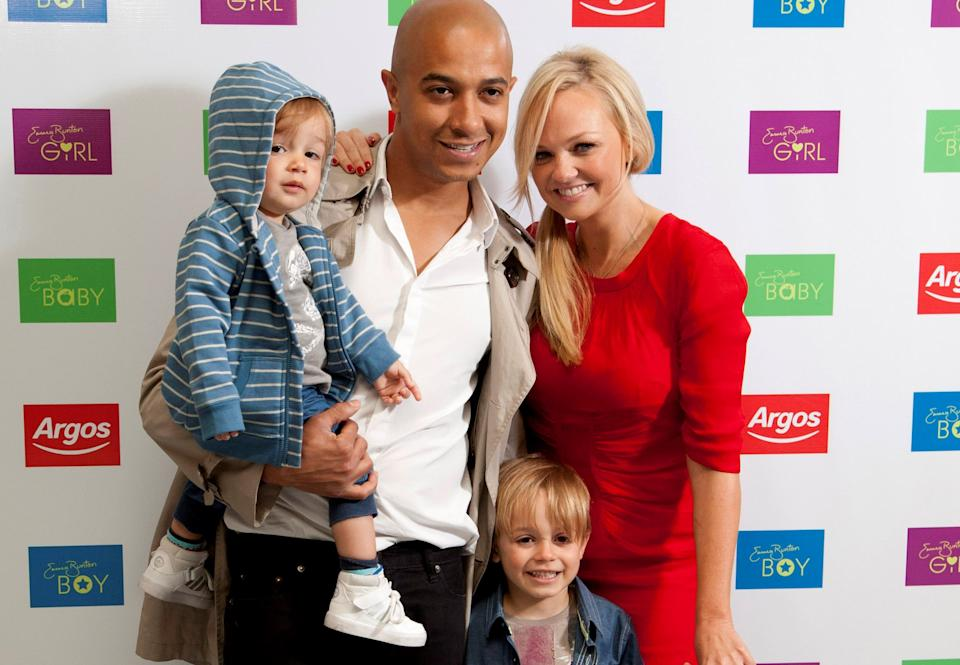 Singer Emma Bunton, her fiancé Jade Jones and children Tate (left) and  Beau (right) launch Emma's exclusive Autumn/Winter childrenswear range for Argos in Covent Garden, London. PRESS ASSOCIATION Photo. Picture date: Thursday July 19, 2012. Photo credit should read: John Phillips/PA Wire