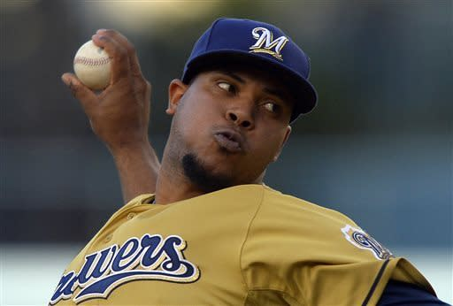 Milwaukee Brewers starting pitcher Wily Peralta throws to the plate during the first inning of their baseball game against the Los Angeles Dodgers, Saturday, April 27, 2013, in Los Angeles. (AP Photo/Mark J. Terrill)