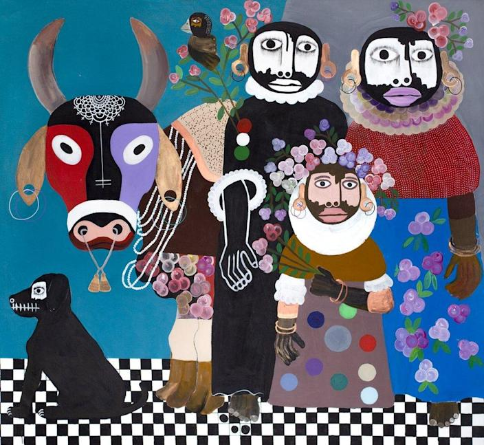 A figurative painting of people with a cow, dog and bird
