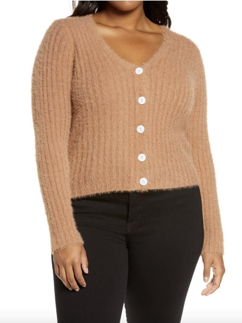<p>Stay warm in this ultra-soft <span>ASTR the Label Fuzzy Crop Cardigan</span> ($38, originally $64).</p>