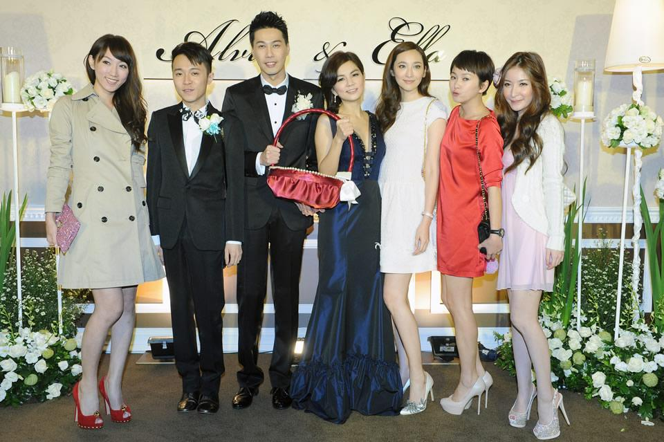 The newly-weds and their showbiz pals