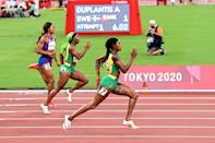 Jamaica's Elaine Thompson-Herah (R) and Shelly-Ann Fraser-Pryce will be racing with each other in the 4x100m relay final