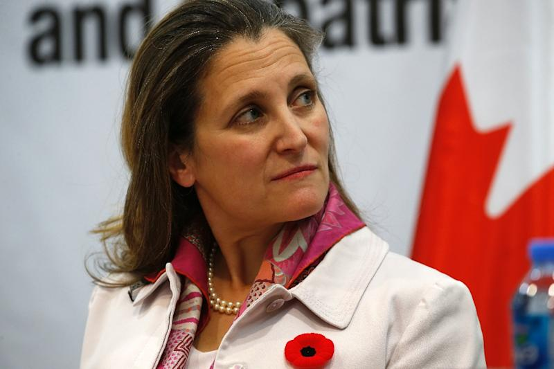 Almost half of Canada's canola exports went to China in 2018, and Ottawa's Foreign Minister Chrystia Freeland has decried Beijing's move to block sales by a major Canadian exporter (AFP Photo/ABBAS MOMANI)