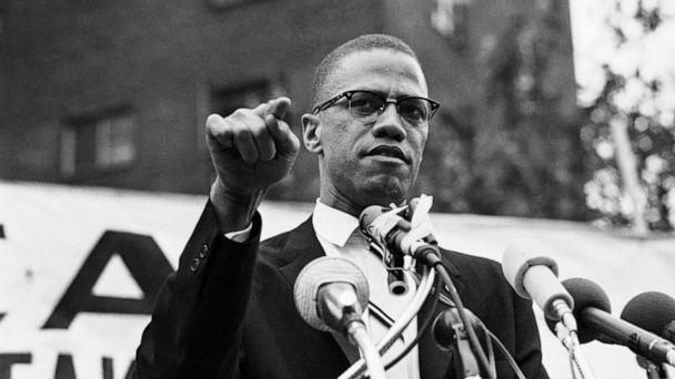 PHOTO: Malcolm X gestures during a speech at a rally. (Bettmann Archive/Getty Images, FILE)