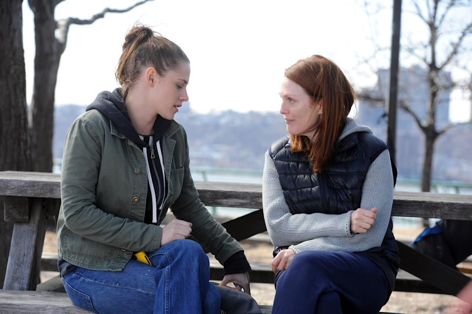 "Lydia (Kristen Stewart, left) helps her mom (Julianne Moore) through an Alzheimer's diagnosis in ""Still Alice."""