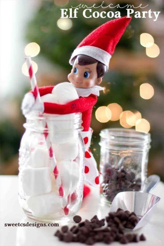 """<p>We're suckers for a hot chocolate bar—especially ones prepared by a host this cute!</p><p><strong>Get the tutorial at <a href=""""https://sweetcsdesigns.com/welcome-elf-shelf-cocoa-party-and-printables/"""" rel=""""nofollow noopener"""" target=""""_blank"""" data-ylk=""""slk:Sweet C's Designs"""" class=""""link rapid-noclick-resp"""">Sweet C's Designs</a>.</strong></p><p><a class=""""link rapid-noclick-resp"""" href=""""https://www.amazon.com/Ball-Pint-Jar-Regular-Mouth/dp/B01NBMPHYV/?tag=syn-yahoo-20&ascsubtag=%5Bartid%7C10050.g.22690552%5Bsrc%7Cyahoo-us"""" rel=""""nofollow noopener"""" target=""""_blank"""" data-ylk=""""slk:SHOP MASON JARS"""">SHOP MASON JARS</a></p>"""