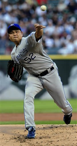 Kansas City Royals' starting pitcher Bruce Chen throws to a Chicago White Sox batter during the first inning of a baseball game, Tuesday, Aug. 7, 2012, in Chicago. (AP Photo/John Smierciak)