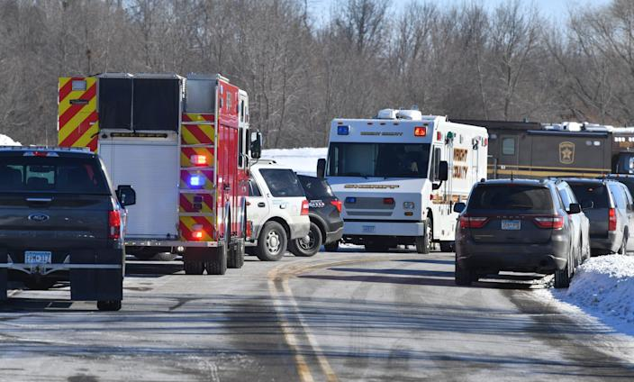 A variety of emergency vehicles are stationed near the Allina Health Clinic building Tuesday, Feb. 9, 2021, in Buffalo.
