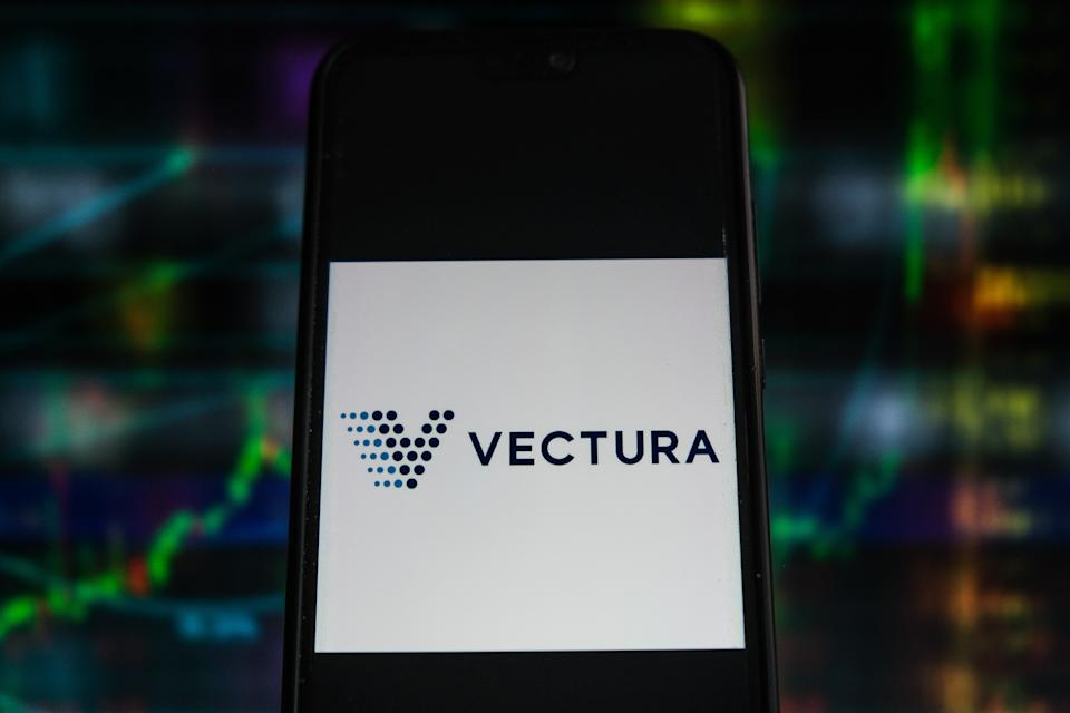 POLAND - 2021/07/12: In this photo illustration a Vectura logo seen displayed on a smartphone with stock market percentages in the background. (Photo Illustration by Omar Marques/SOPA Images/LightRocket via Getty Images)