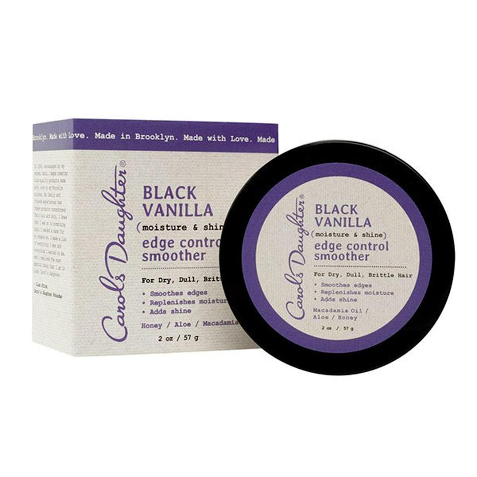 """<p>Besides the fact that everything from Carol's Daughter's Black Vanilla line smells heavenly, this edge control, made with aloe and honey extract, moisturizes your hair and keeps everything intact all at once. The honey extract in the product seals split ends, which is a sweet little extra from this drugstore wonder.</p> <p><strong>$6</strong> (<a href=""""https://www.amazon.com/Carols-Daughter-Moisture-Smoother-Packaging/dp/B00WCJGH54"""" rel=""""nofollow noopener"""" target=""""_blank"""" data-ylk=""""slk:Shop Now"""" class=""""link rapid-noclick-resp"""">Shop Now</a>)</p>"""