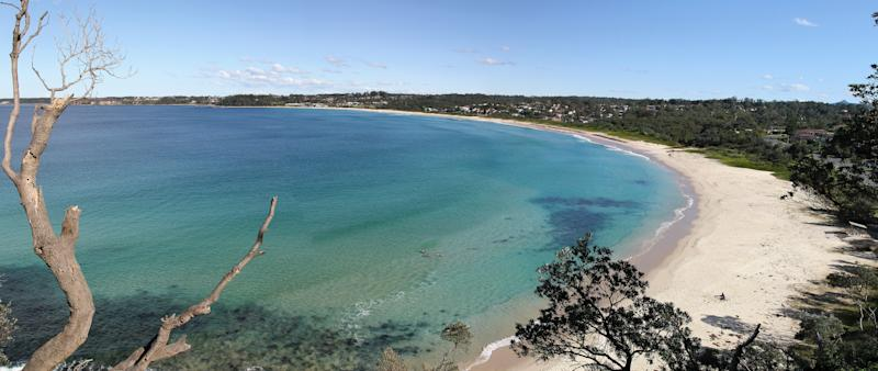 Wide angle view of Mollymook beach.