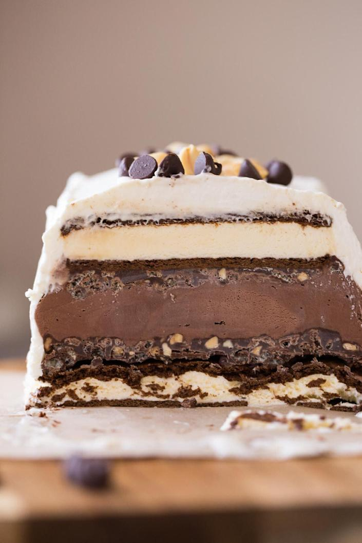 "<a href=""https://lovelylittlekitchen.com/chocolate-peanut-butter-ice-cream-slice-cake/"" rel=""nofollow noopener"" target=""_blank"" data-ylk=""slk:Chocolate Peanut Butter Ice Cream Slice Cake from Lovely Little Kitchen"" class=""link rapid-noclick-resp""><strong>Chocolate Peanut Butter Ice Cream Slice Cake from Lovely Little Kitchen</strong></a>"