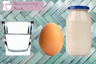 """<div class=""""caption-credit""""> Photo by: Thinkstock</div><p> <b>Maintaining Mask</b> <br> Mix together a mayonnaise, egg and honey mask one to two times a week to keep strands in tip-top condition. Whisk together one egg, a half cup of mayonnaise, two tablespoons of honey and one ounce of water. Apply and let it sit on strands for 15 minutes before shampooing as normal. </p> <p> <a href=""""http://www.youbeauty.com/face/dermaplaning"""" rel=""""nofollow noopener"""" target=""""_blank"""" data-ylk=""""slk:"""" class=""""link rapid-noclick-resp""""><br></a> </p>"""