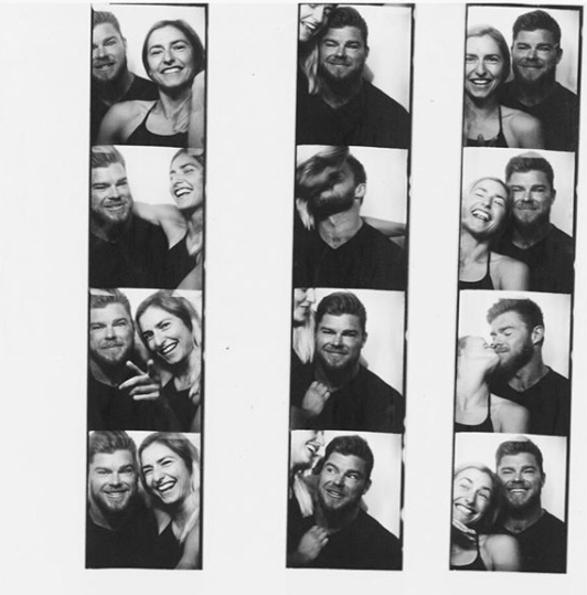 The lovebirds both shared photo-booth selfies of themselves to announce their engagement last November. Source: Instagram/notanotherfitnessblogger