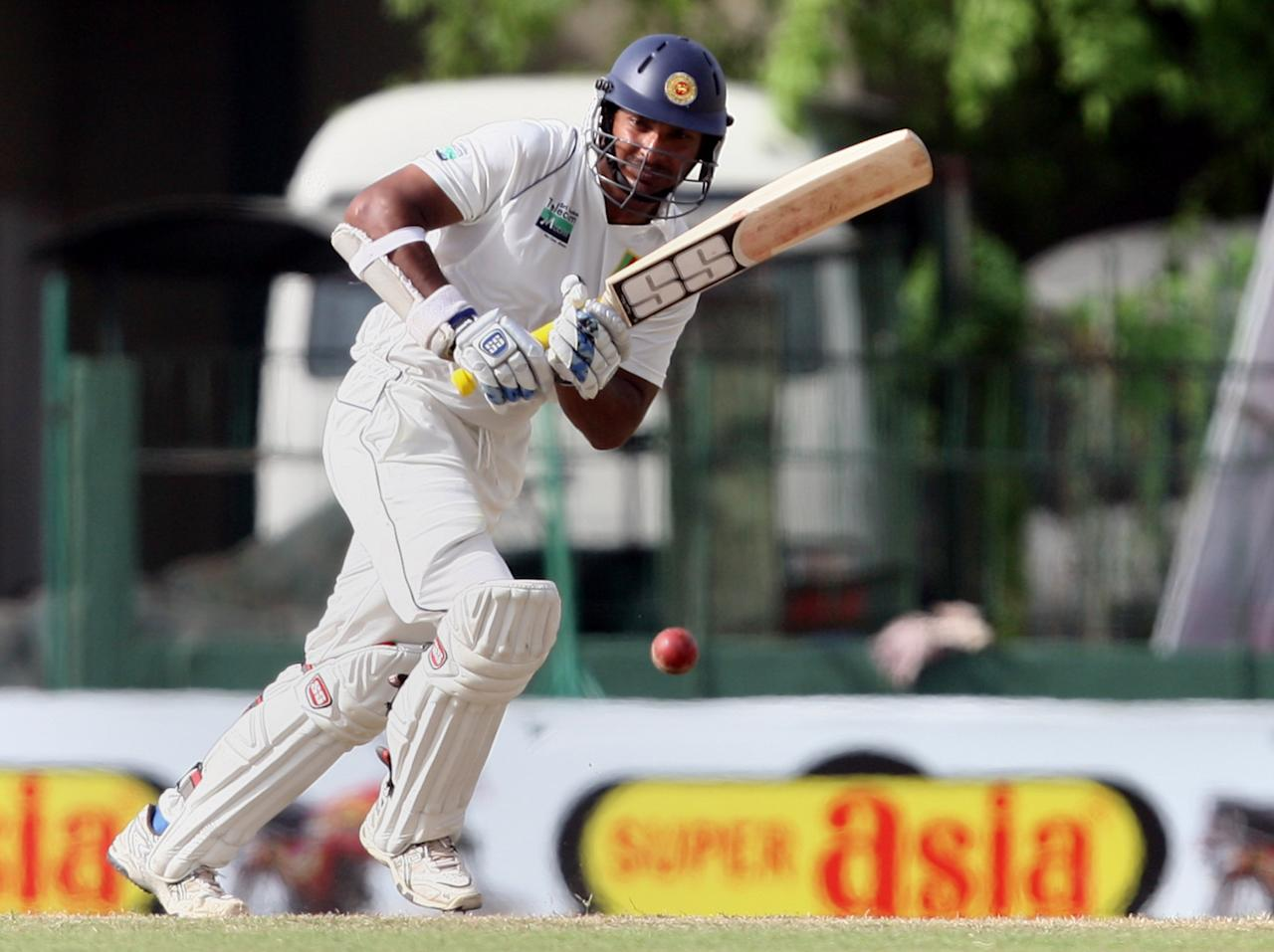 COLOMBO, SRI LANKA - JULY 03:  Kumar Sangakkara of Sri Lanka bats during day four of the second test between Sri Lanka and Pakistan at Sinhalese Sports Club on July 3, 2012 in Colombo, Sri Lanka.  (Photo by Buddhika Weerasinghe/Getty Images)