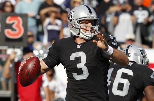 Oakland Raiders quarterback Carson Palmer (3) looks to throw against the Dallas Cowboys during the first quarter of an NFL preseason football game in Oakland, Calif., Monday, Aug. 13, 2012. (AP Photo/Tony Avelar)