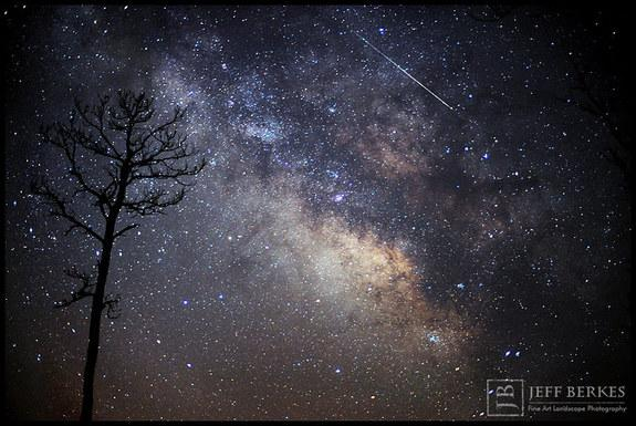 Astrophotographer Jeff Berkes captured this Lyrid meteor in the marshlands of southern Maryland on April 14, 2013.