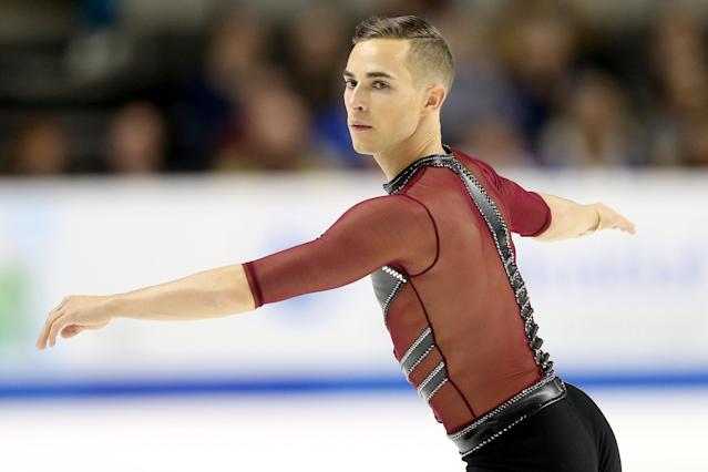 <p>The 2016 U.S. champion makes history even before skating on Olympic ice. At 28 years old, Adam Rippon is the first openly gay American to qualify for a Winter Games. He won a bronze medal with Team USA's third place finish in the team figure skating event at the 2018 Winter Olympics.<br> (Photo by Matthew Stockman/Getty Images) </p>