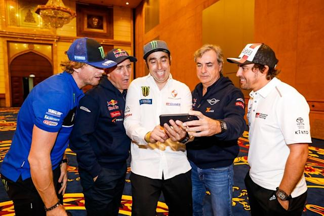 "Adrien Van Beveren, Yamalube Yamaha Official Rally Team, Stephane Peterhansel, JCW X-Raid Team, Nani Roma, Borgward Rally Team, Carlos Sainz, JCW X-Raid Team, Fernando Alonso, Toyota Gazoo Racing <span class=""copyright"">A.S.O. </span>"