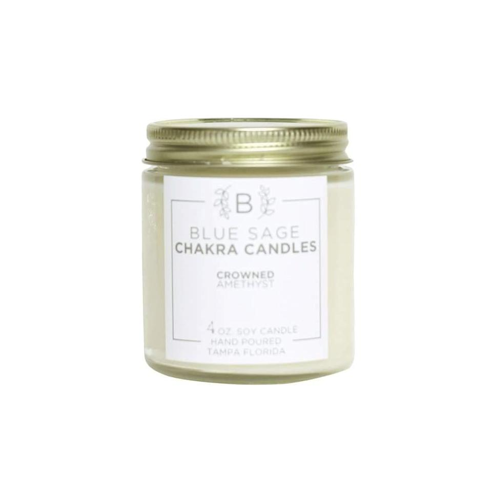 """<h3>Blue Sage Eco Boutique</h3> <br>These crystal-infused aromatherapy candles – which are almost sold out! — are paired with affirmations to keep you centered and manifest intentions. (They also smell <em>divine</em>.)<br><br><strong>Blue Sage Eco Boutique</strong> Chakra Soy Candle, $, available at <a href=""""https://go.skimresources.com/?id=30283X879131&url=https%3A%2F%2Fblkgrn.com%2Fcollections%2Faromatherapy%2Fproducts%2Fchakra-soy-candle"""" rel=""""nofollow noopener"""" target=""""_blank"""" data-ylk=""""slk:BLK + GRN"""" class=""""link rapid-noclick-resp"""">BLK + GRN</a><br>"""