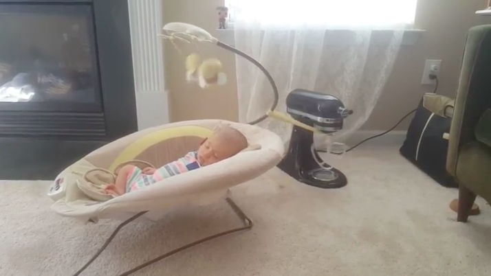 This parenting hack using a KitchenAid to rock a baby to sleep has divided the Internet [Photo: Imgur]