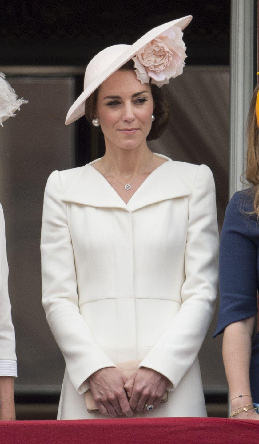 <p>She'd previously worn the outfit at the 2016 Trooping of the Colour - this time with a pale pink hat.</p>