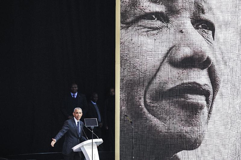 As part of the celebrations 100 years after Nelson Mandela's birth, former US president Barack Obama came to give the centrepiece address (AFP Photo/GIANLUIGI GUERCIA)