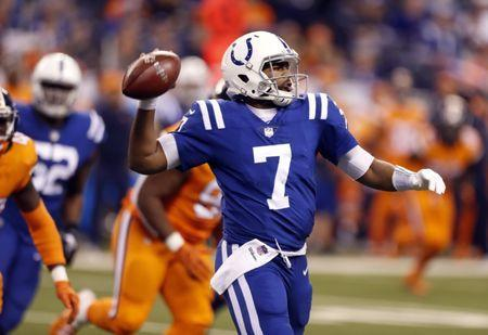 Dec 14, 2017; Indianapolis, IN, USA; Indianapolis Colts quarterback Jacoby Brissett (7) throws a pass against the Denver Broncos during the 3rd quarter at Lucas Oil Stadium. Mandatory Credit: Brian Spurlock-USA TODAY Sports