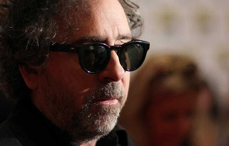 "Director Tim Burton, from the film ""Frankenweenie"", arrives at the Disney press line during Comic-Con, Thursday, July 12, 2012, in San Diego. (Photo by Matt Sayles/Invision/AP)"